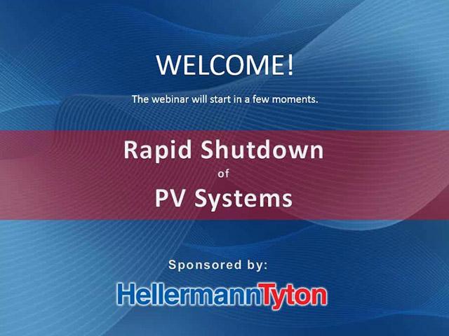 Pv System: Pv System Rapid Shutdown on